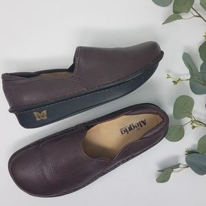 ALEGRIA Brown Leather Loafer Shoes 41